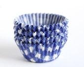 100 Mini Blue Gingham Cupcake Liners