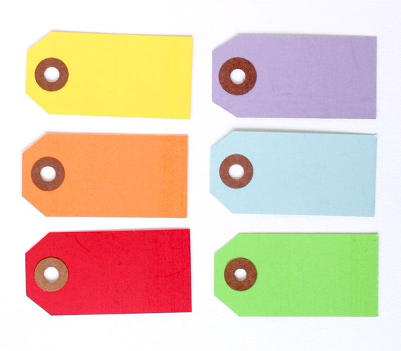 60 Little Parcel Tags - Rainbow Mix