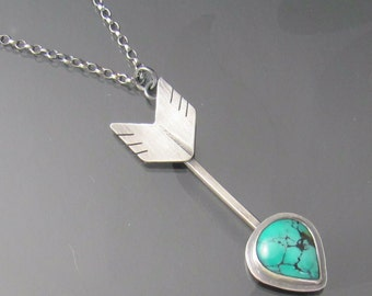 follow your heart arrow necklace - turquoise sterling silver necklace - turquoise necklace - arrow jewelry - heart necklace - chevron