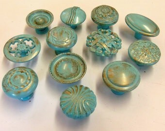 FREE SHIPPING Drawer Pulls Knobs Collection 12 Aqua Turquoise Robins Egg Distressed Shabby Cottage Chic