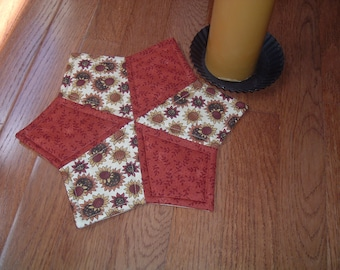 Quilted Candle Mat Table Topper Trivet in Sunflowers