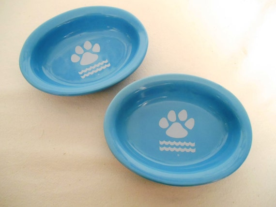 Pet Cat Dog Food Bowl Set Of 2 Dishes Ceramic Oval Small Paw