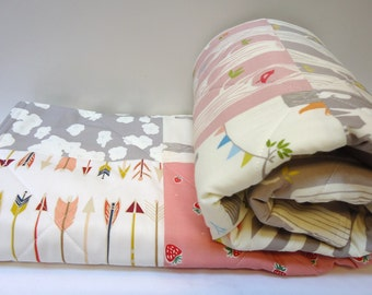 Modern Baby Girl Quilt-Rustic Woodland Organic Birch Fabrics-Arrows-Woodland Party-Buck-Deer-Tree Stripe-Pink-Gray-Baby Blanket
