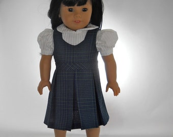 18 inch doll clothes, School Uniform, White Blouse and Navy and Green Jumper, 08-0386