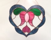 Valentine Blue Stained Glass Heart With Pink Tulip