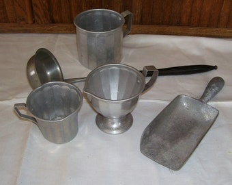 Lot of Vintage Aluminum Wear, Scoop, Long Handle Scoop, Cup, Sugar and Creamer, Vintage Kitchen, Farm House Decor, French Country, Vintage