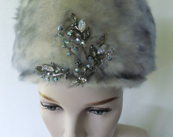 Vintage Gray and White Faux Fur Hat with Rhinestone Jewels Mr. Josephs New York Mouflon France Designer