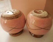 Unmarked Pink and Brown Salt and Pepper Shakers