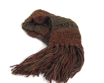 Harvest Moon Scarf, Knit Scarf, Hand Knit Scarf, Brown Scarf, Rust Scarf, Gift Idea, Ombre Scarf, Womens Scarf, Fiber Art, Fashion Scarf