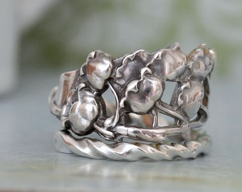 sterling silver LILY Of The VALLEY RING, vintage sterling silver spoon ring adjustable, size 8, antiqued silver lily ring,