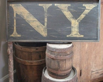 Small Reproduction 18th c New York 'NY' Colonial Wooden Sign