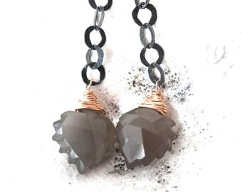 Grey Moonstone Sterling Silver & Gold Filled Leaf Earrings