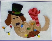Custom Order for Lisa Montano - Custom Embroidered Paw Stocking with Dog in Lights -