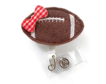 Brown Football - Retractable ID Badge Reel - RN Badge Holder - Teacher ID - Nursing Badge Holder - Felt Badge Reel - Sport Badge Holder