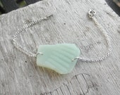 Opaque Green Glass Bracelet Lake Eire Beach Glass Ohio
