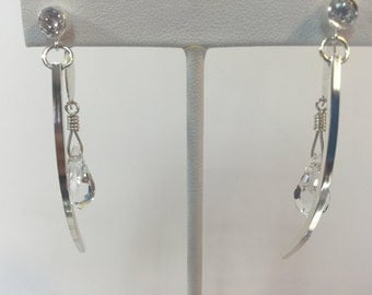 White Topaz Hand Wrought Sterling Silver Dangle Earrings
