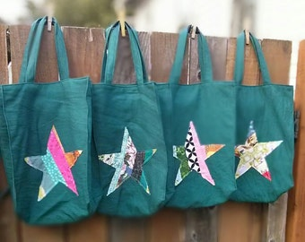 farmers market / grocery tote - reclaimed teal cotton fabric with one-of-a-kind star applique
