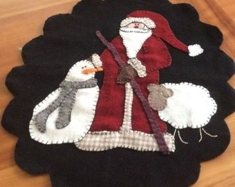 "Wool Candle Mat, Handmade, Christmas, Santa, Snowman, 14"" x 16"""