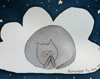 Say your prayers, praying cat, original watercolor, cat on cloud, moon and stars, children's, nursery art, night, blue and grey