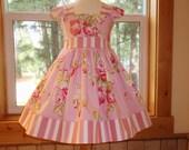 Girls Easter Dress, Toddler Easter Dress, Pink Floral Dress, Roses, Flutter Sleeves, Baby Girl First Easter Dress, Special Occasion