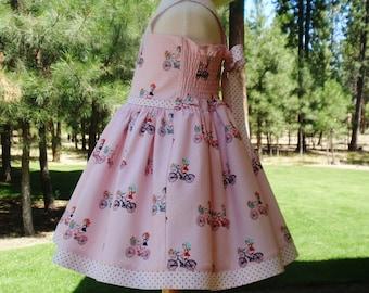 Girls Pink Bicycle Dress, Baby Girl Toddler Pink Bicycle Dress, Party Dress, Little Girl Dresses, Handmade Toddler Dress, Custom Girls Dress
