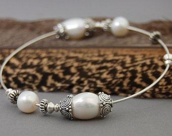 Maria - Wedding bangle, Bridal fashion, Boho wedding, Freshwater pearl and Argentium silver bangle, gift, for her, stacking bangle, bracelet