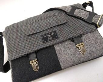 "Messenger Bag, Laptop bag, 13"" Macbook pro Messenger bag Macbook,Laptop Sleeve, Vintage, Wool, Trunk Latch,Recycled Suit Coat"