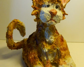 Lil Red Paper Mache Clay Kitty Sculpture by Maure Bausch