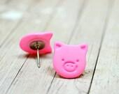 Pink Pig Earrings, Cute Pigs, Little Piggies Farm Animals Jewelry, Animal Earrings, Pig Jewelry Farmhouse Chic, Vegan Jewelry