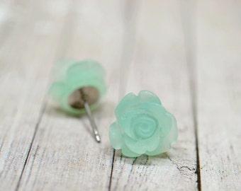 Mint Blue Rose Earrings, Ice Blue Roses, Mint Flower Stud Earrings, Mint Colored Jewelry, Tropical Jewelry, Blue Green Earrings, The Rosie