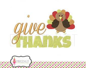 "Thanksgiving machine embroidery design. ""give thanks"" with turkey embroidery. Fun fall embroidery design. Word art embroidery."