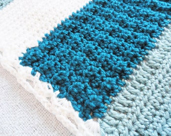 Teal Blue Striped Crocheted Afghan Baby Blanket Office Lap Throw Lacy Blue and White By Distinctly Daisy