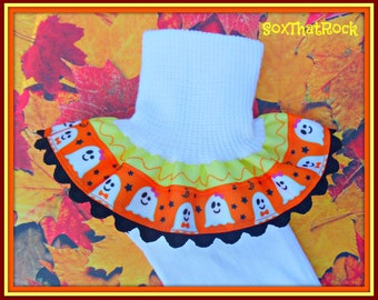 Spooktacular Halloween girls Socks, custom colors available, boutique couture girls ruffle socks - newborn to women's sizes available