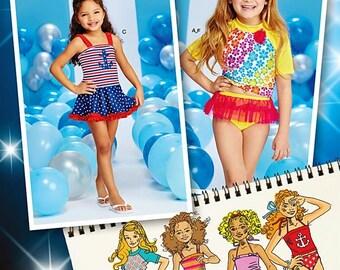 Girls' Mix and Match Swimsuit Pattern, Child's Rash Guard Swim Top Pattern, Sz 3 to 8, Simplicity Sewing Pattern 1120