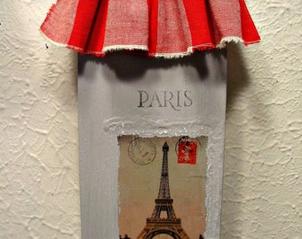 Paris Eiffel Tower - Wall Art - Gingham Ruffle - French Farmhouse - Home Decor - Hand Painted Chalkpaint