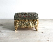 Ornate Filigreed Metal Jewelry Box Footed Red Lining