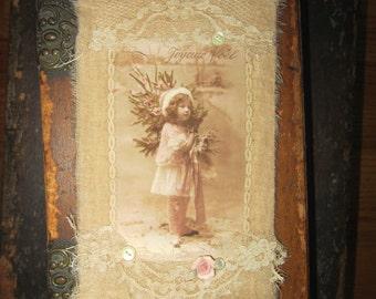 Vintage Lace Edwardian Joyeux Noel Winter Girl Christmas  Extra Large