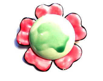 Vintage Original 1960's Flower Power Brooch Pin, Pink and Green, VisionsOfOlde