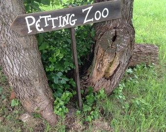 Rustic Wood Children's Birthday Party Sign on Stake Petting Zoo