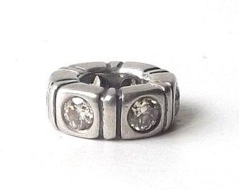 discontinued authentic genuine pandora charm spacer 9.25 sterling silver trinity cz stone cubic zirconia bead accessory accessories bracelet