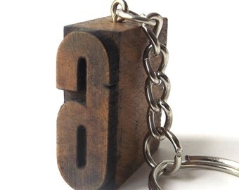 letterpress key fob 6 block vintage 1920s wood stamp printers printing patina small mini miniature tiny black car accessories number symbol