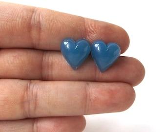 denim blue heart post earrings stainless steel vintage 1960's resin womens fashion jewelry stud retro modern love bright simple fresh old