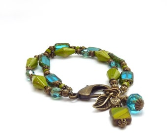 Teal Blue & Green Beaded Charm Bracelet - Picasso Czech Glass Beads - Bronze Leaf - Multistrand Bracelet - Boho Statement Jewelry