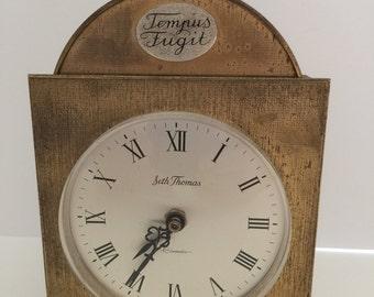 Vintage Seth Thomas Tempus Fugit Brass Clock