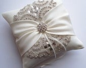 Wedding Ring Pillow with Rhinestone Detail, Ring Bearer Pillow, Ivory Satin Sash Cinched by Crystals - The ROSALINA Pillow