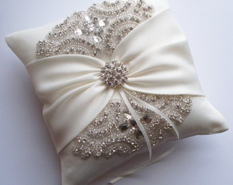 Wedding Ring Pillow, Wedding Cushion with Rhinestone Detail, Ring Bearer Pillow, Ivory Satin Sash Cinched by Crystals - The ROSALINA Pillow