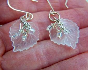 Clear Lucite Leaf Cluster Glass Bead Dangle Earrings Doodaba