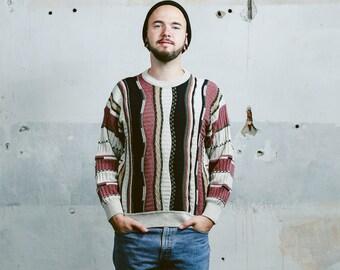 COOGI Style Sweater . Vintage Men's 90s Grunge Three Dimensional Knit 3D 1990s Jumper 80s Boyfriend Knitwear . size Medium