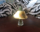 ANTIQUE  Perfume Miniature Novelty Glass Lamp with metal Shade  -1920-1950 orchids