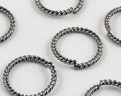15mm Gunmetal fancy twist 14 gauge jumprings (20)